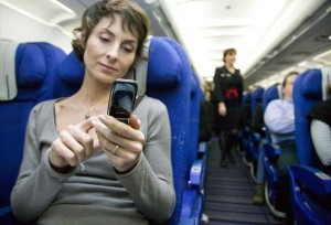 Cell phone usage in a plane isn't advisable