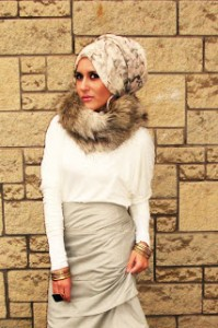 Bun-style scarf looks really elegant on any outfit