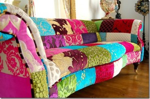 Patched up coloured sofa