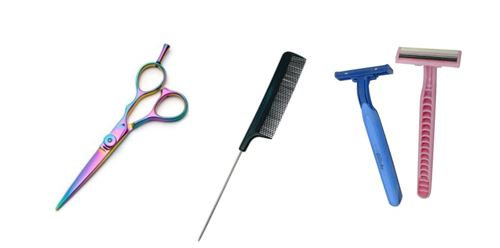 All you need to trim your fringe is a pair of hair-cut shears, a tail comb and a razor