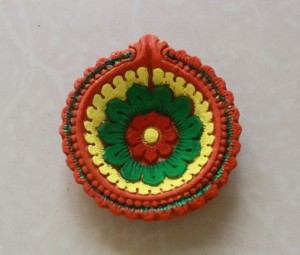 Oil painted diya