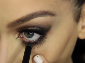 Finish off your look by lining your waterlines with lots of black kohl pencil