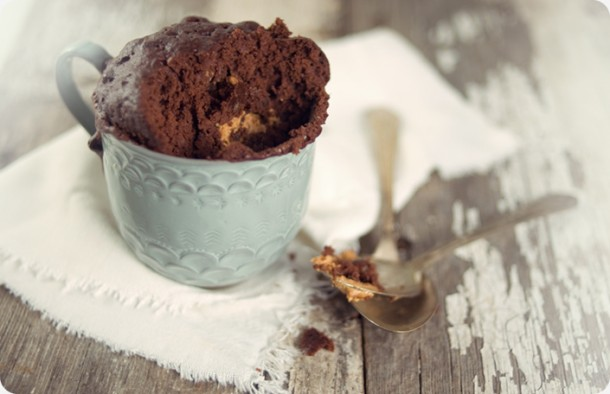 This chocolate chip muffin is like heaven in a mug