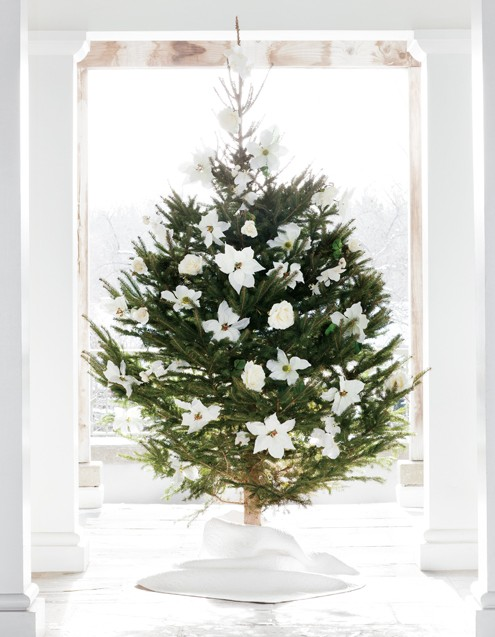 Decorate your tree with faux flowers for that elegant feel