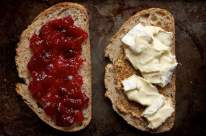 For those days, when you don't feel like eating jam-and-butter try cranberry chutney and cheese!