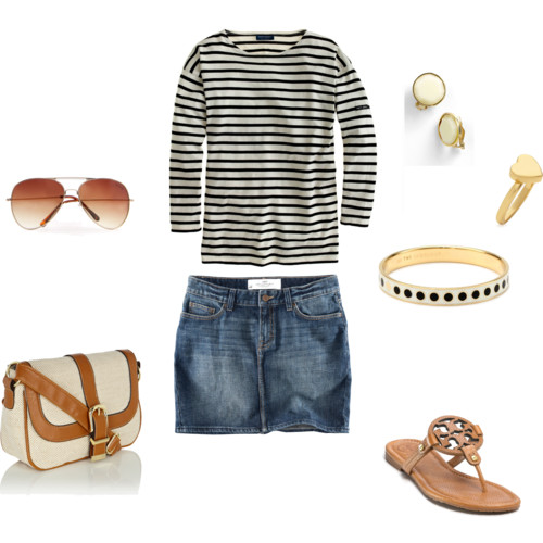 Make your shopping spree fun and comfortable with a mini denim skirt, sweatshirt, flat footwear and sunglasses!