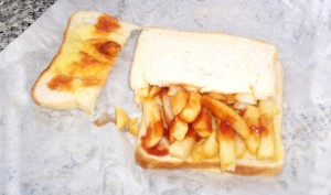 The absolutely delicious French fries sandwich