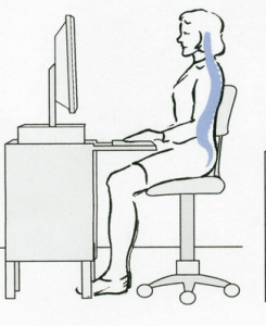 The correct seated posture at work is when your eyes are at level with your screen, your spine is straight, desk (keyboard) is lower than elbows and knees lower than hips