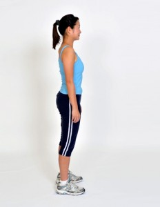 To attain thee correct standing posture, ensure that your head, chest stomach and hips are in a straight line perpendicular to the floor