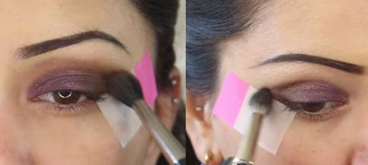 Finish your eye makeup with a mocha brown eye shadow on the outer end and a lighter brown transition colour