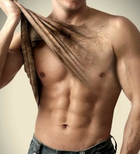 The first step in manscaping is to remove all the hair from your torso