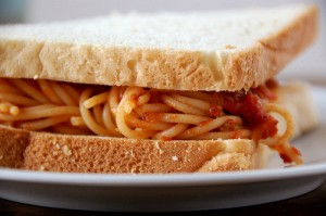 Fly straight to Italy or settle down for this spaghetti sandwich