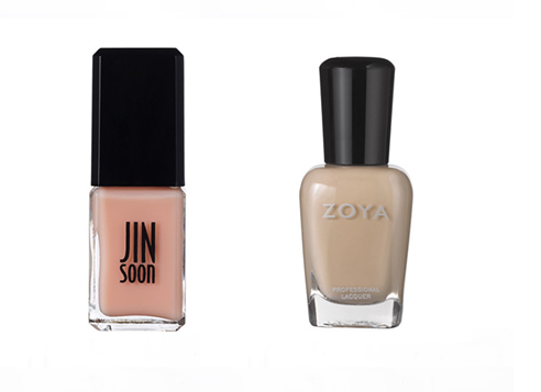 Pale pinks and taupes are a good option for medium skin tones, nude nail paints,