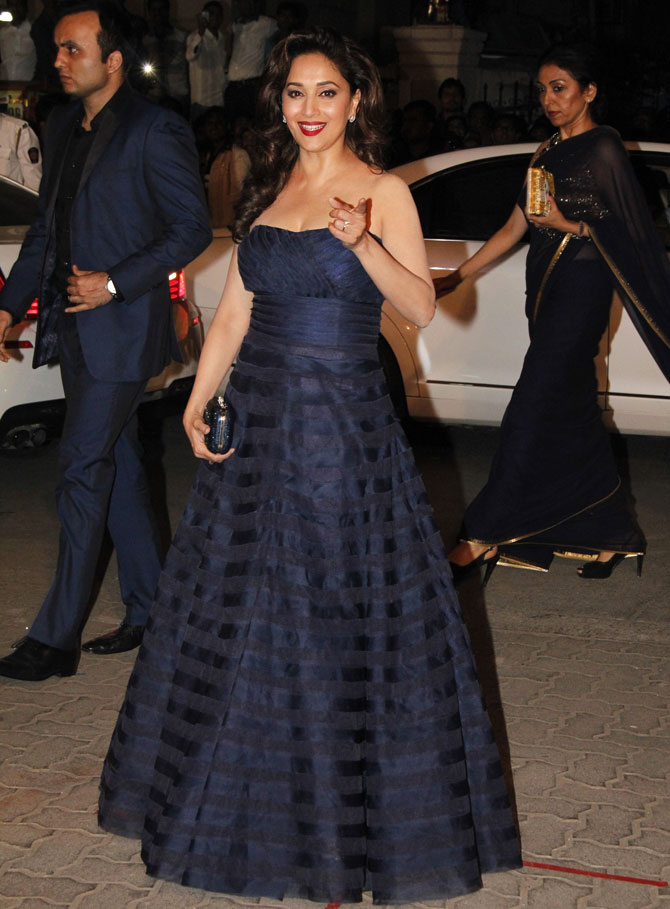 Madhuri Dixit proved that she is a timeless beauty, in this sexy nave blue gown,
