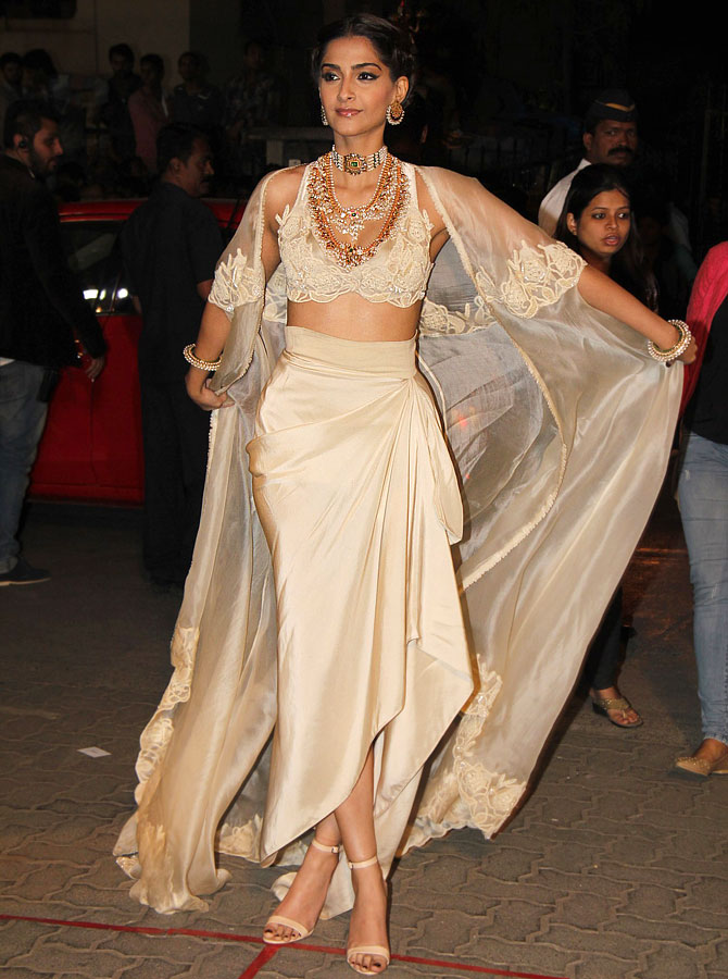 Sonam Kapoor in a beige ensemble at the 60th Filmfare awards