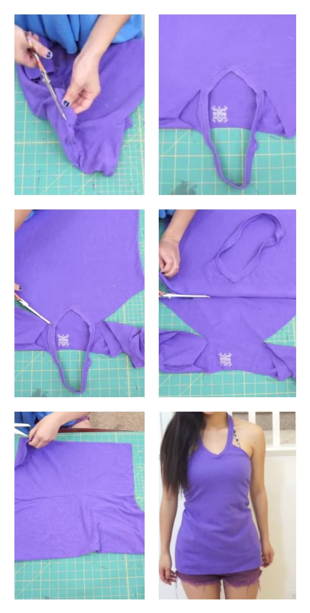 This T-shirt-halter-top is so easy-to-make; you don't even need to sew it!