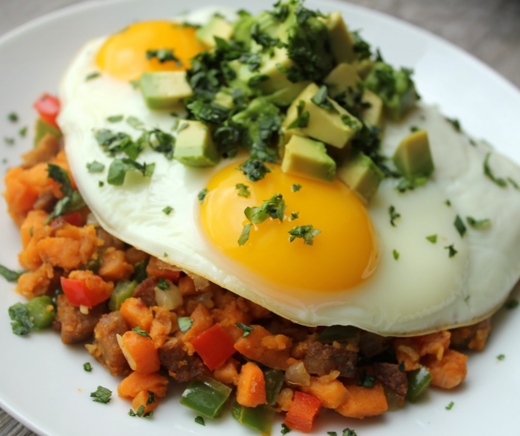 Southwestern hash with fried eggs