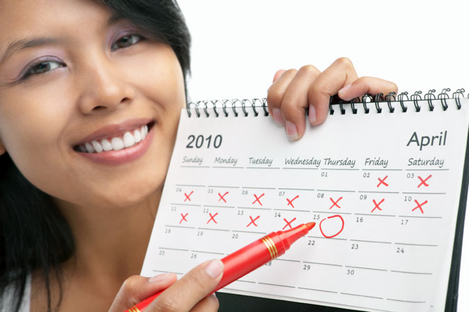 Mark a date in your calendar to remember when you need to visit the gynecologist