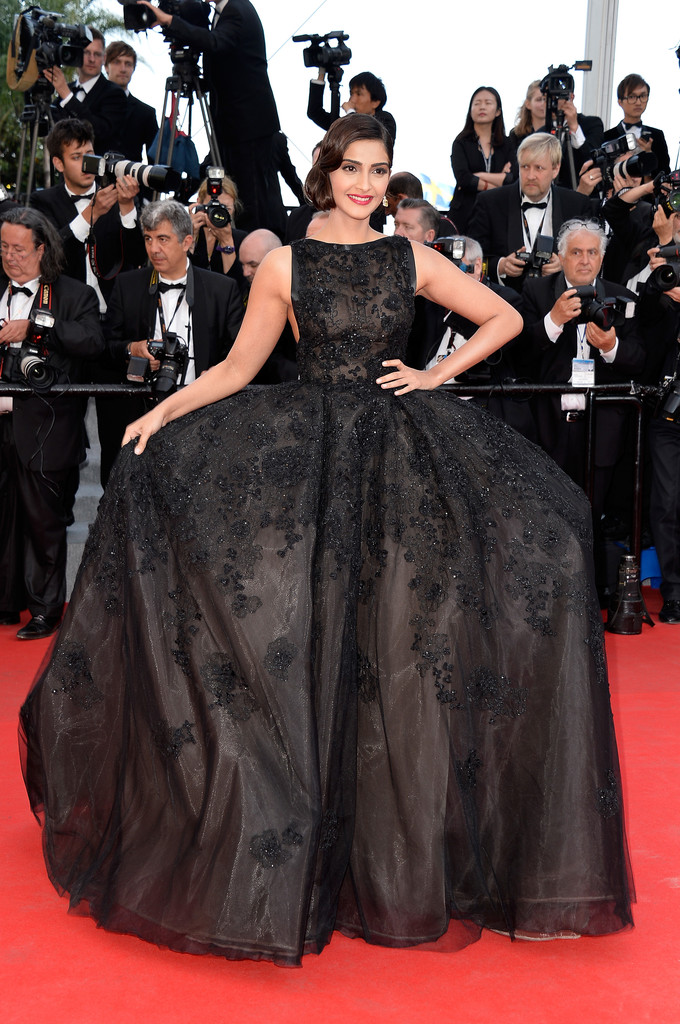 Sonam Kapoor wearing a vintage inspired Elli Saab gown at Cannes 2014