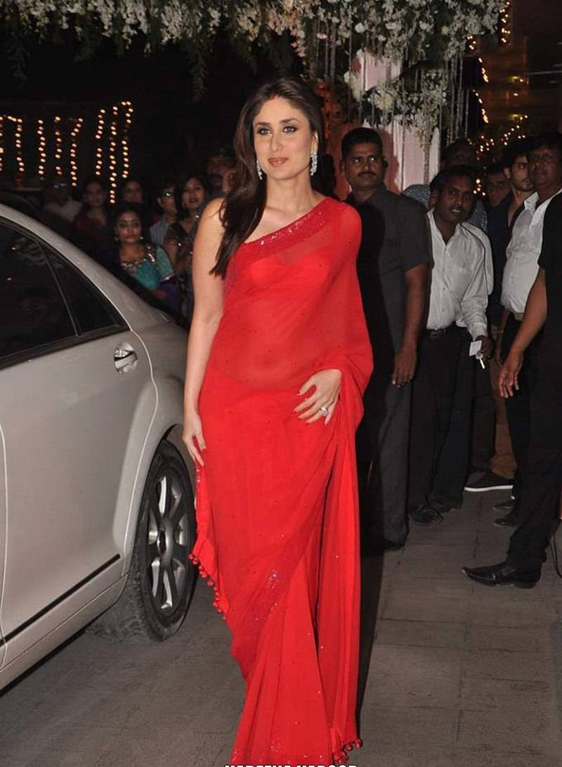 Kareena Kapoor strikes the correct balance of sheer and sexiness with this hot red saree