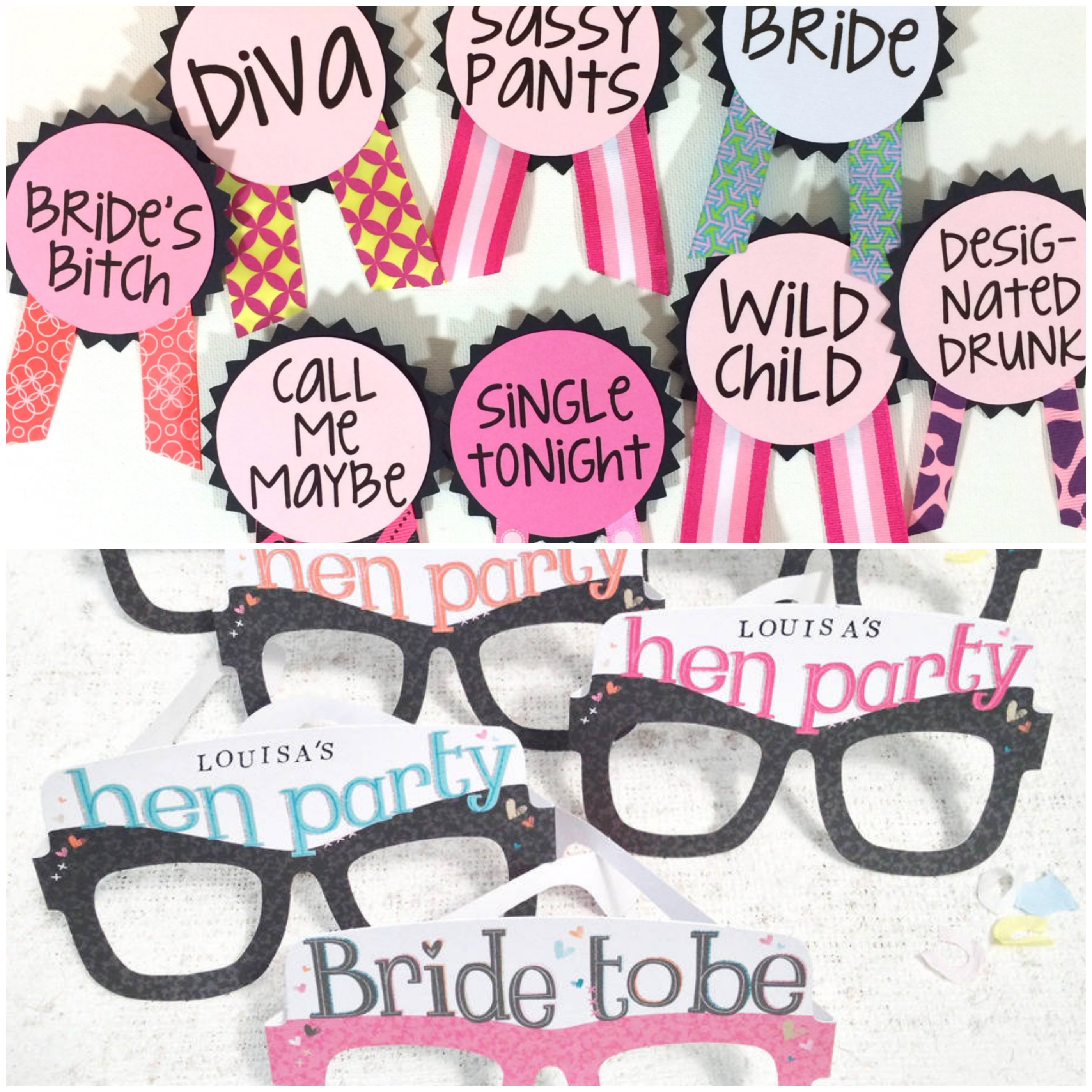 Colourful pin-ups and quirky hand-made glasses are the perfect DIY props for a hen party
