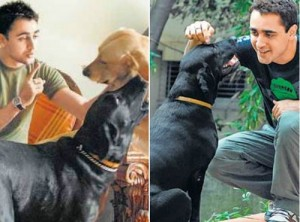 Imran Khan with his pet dog tony and kajri