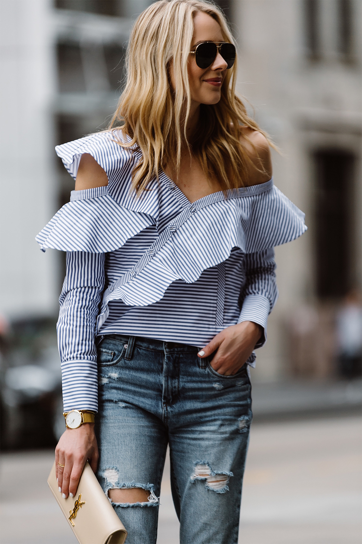 Ruffled to and jeans